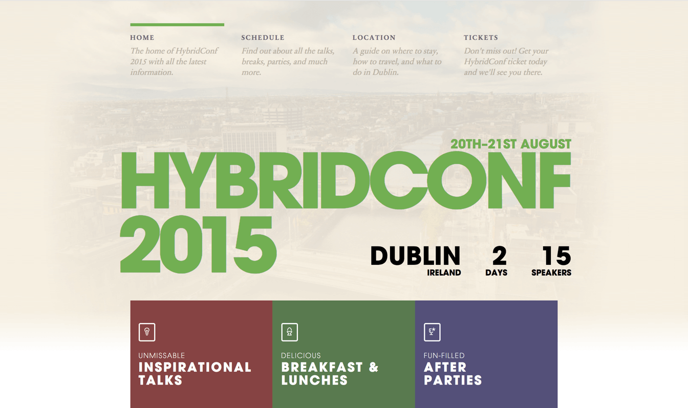 A shot of the homepage from HybridConf 2015 Dublin
