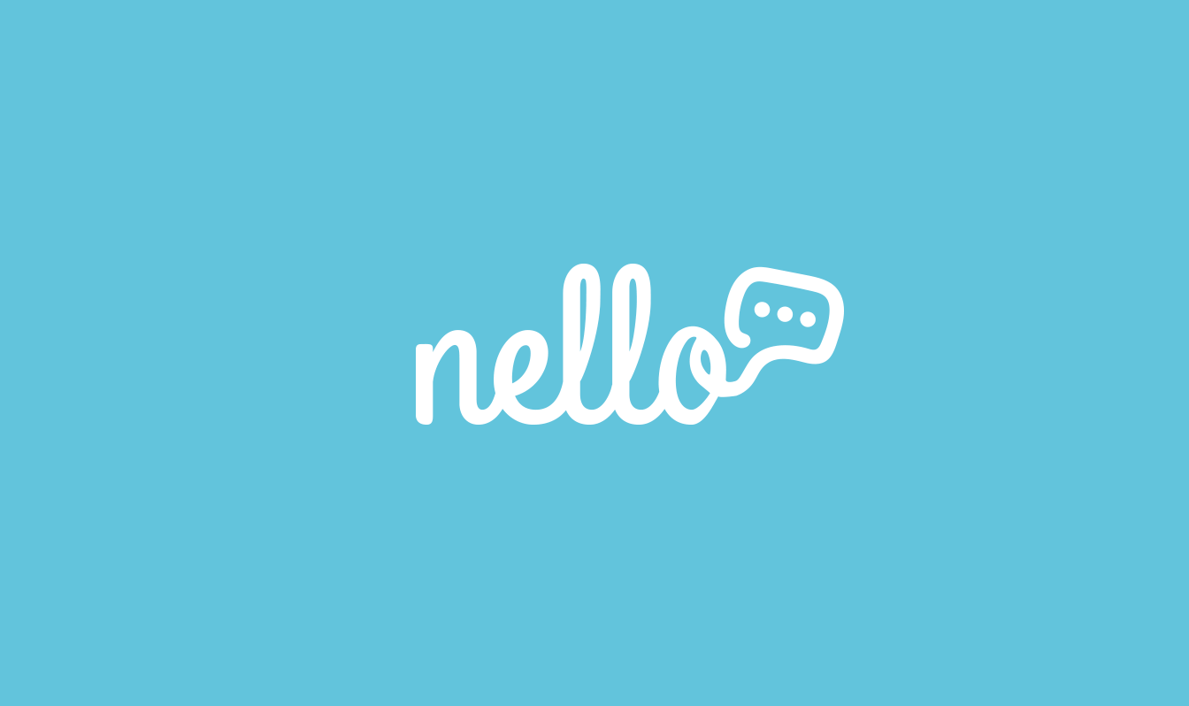A logo concept for Nello that looks like the name as a telephone wire with a speech bubble