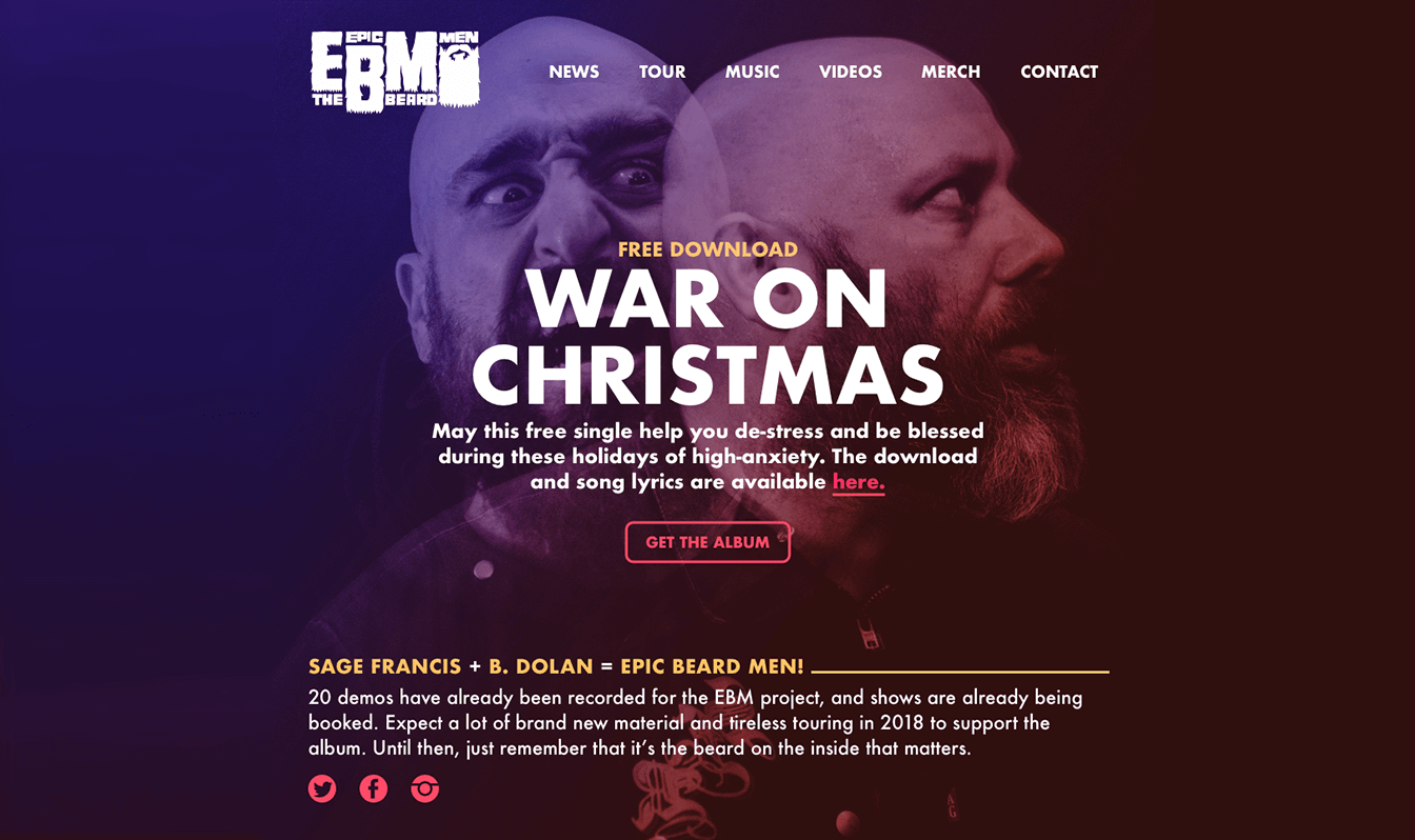 Our homepage design for the Epic Beard Men website featuring a large image of the band and an album download call to action